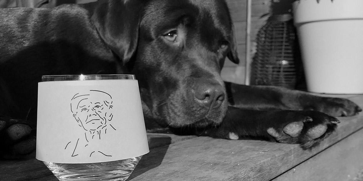 hond met glas